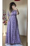 Lila Çıtır Çiçekli Gömlek Elbise