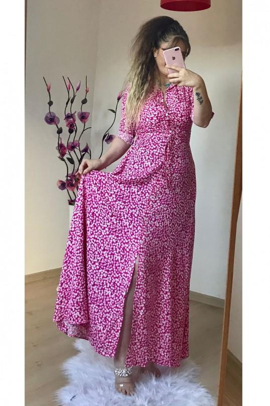 Pembe Çıtır Çiçekli Gömlek Elbise