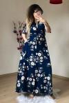 Lacivert Çiçekli Gömlek Elbise