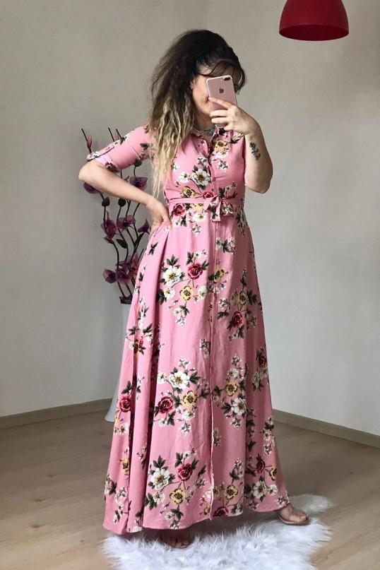 Pembe Çiçekli Gömlek Elbise