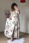 Krem Çiçekli Gömlek Elbise