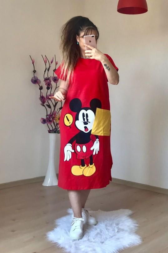 Micky  Mouse Elbise Kırmızı