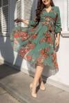 Kısa Yeşil Nar Çiçeği Elbise