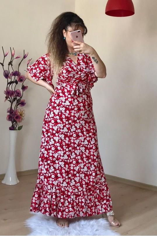 Kol Volanlı Kırmızı Papatya Elbise