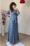 Kol Volanlı Mavi Papatya Elbise