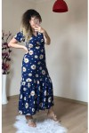 İri Papatya Lacivert Elbise