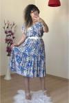 Beyaz Kemerli Mavi Çiçek Elbise