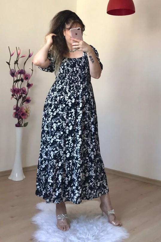 Gipeli Siyah Çiçekli Elbise