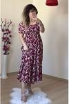 Gipeli Bordo Çiçekli Elbise