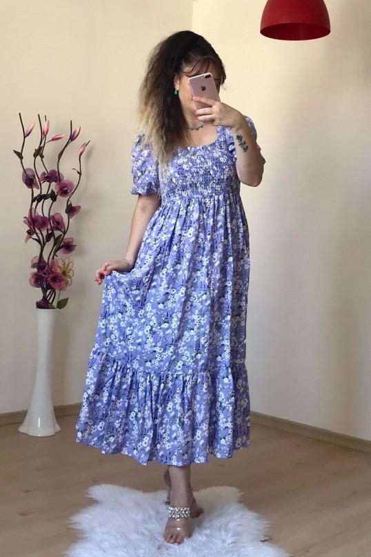 Gipeli Lila Çiçekli Elbise