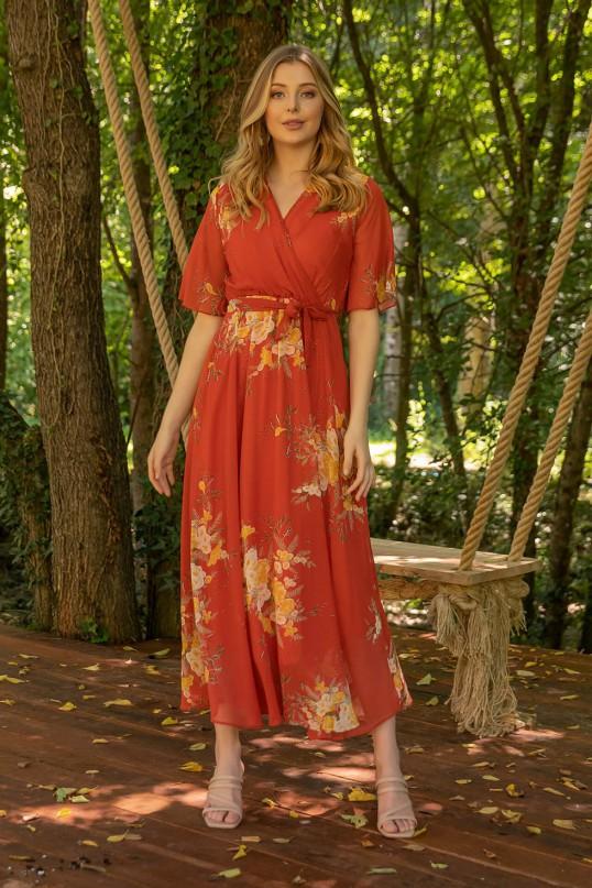Kısa Kol Çiçekli Turuncu Şifon Elbise