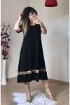 Eteğiı Leopar Şeritli Salaş Elbise