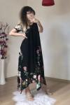Asimetrik Kesim Çiçekli Salaş Elbise
