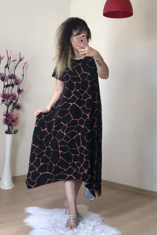 Asimetrik Kesim Dalmaçya Salaş Elbise