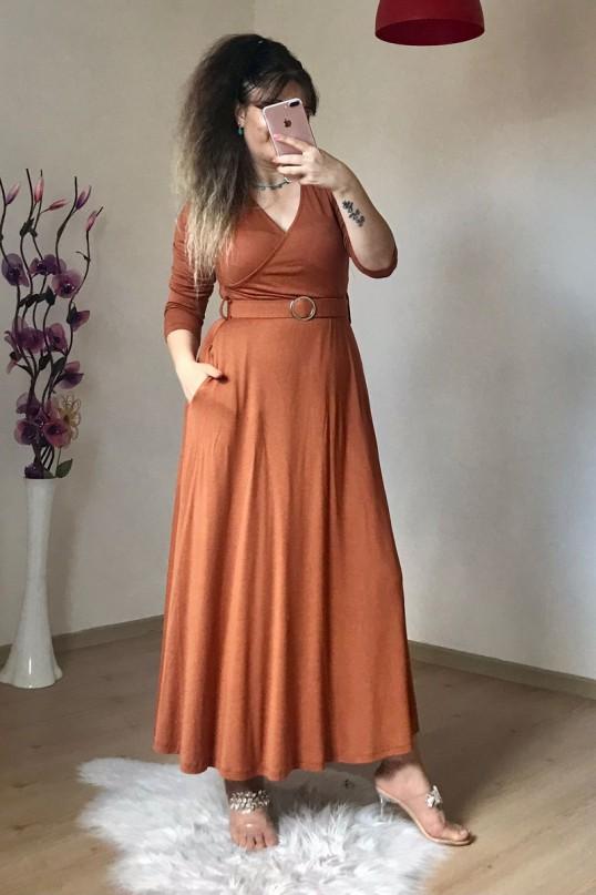 Halka Kemerli Düz Kiremit Penye Elbise