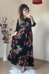 Çiçekli Boyundan Bağlamalı Elbise - Büyük Bden
