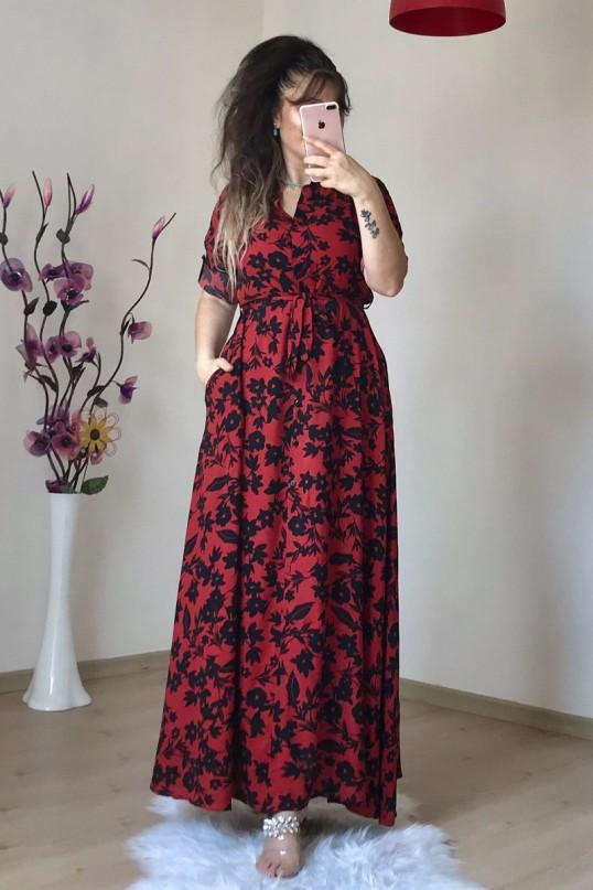 Siyah Çiçekli Kırmızı Gömlek Elbise