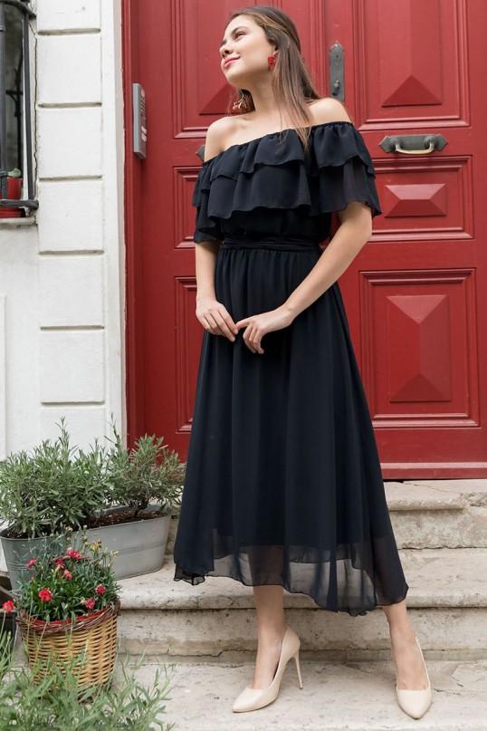 Madonna Yaka Şifon Elbise Siyah