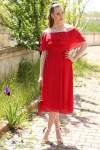 Madonna Yaka Şifon Elbise Kırmızı