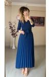 Uzun Pileli Mira Kumaş Elbise Mavi