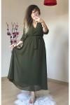 Uzun Düz Şifon Elbise Haki Büyük Beden