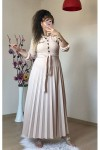 Eteği Piliseli Uzun Elbise  Krem