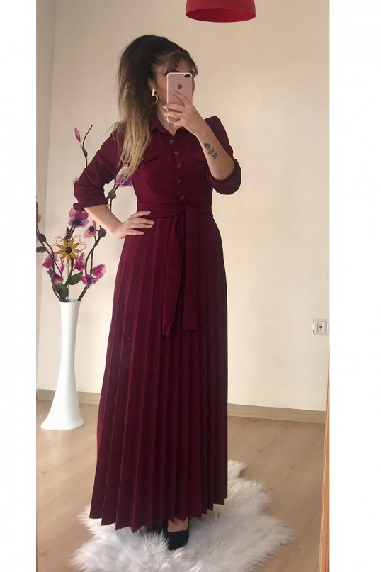 Düğmeli Yaka Cepli Elbise Bordo
