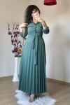 Düğmeli Yaka Cepli Elbise Çağla Yeşili