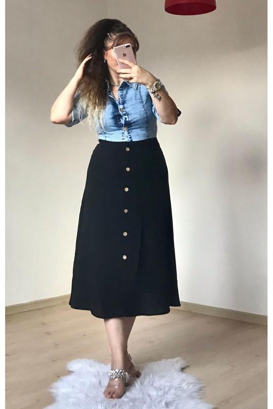 Üst Kot Detaylı Elbise Siyah
