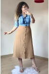 Üst Kot Detaylı Elbise Bej