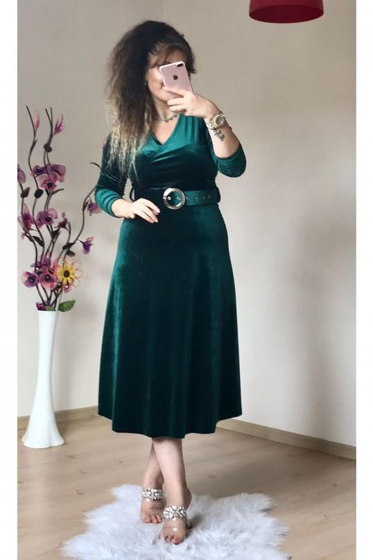 Kemerli Midi Boy Kadife Elbise Zümrüt Yeşili