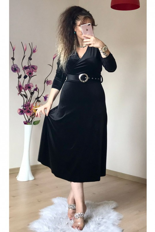 Kemerli Midi Boy Kadife Elbise Siyah