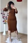 Düğme Detaylı Triko Kalem Elbise Taba