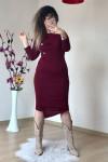 Düğme Detaylı Triko Kalem Elbise Bordo