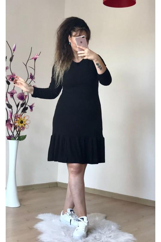 Fırfırlı Kısa Siyah Elbise