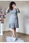 Fırfırlı Kısa Gri Elbise