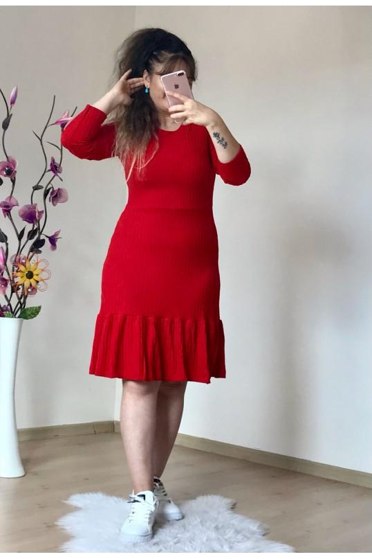 Fırfırlı Kısa Kırmızı Elbise