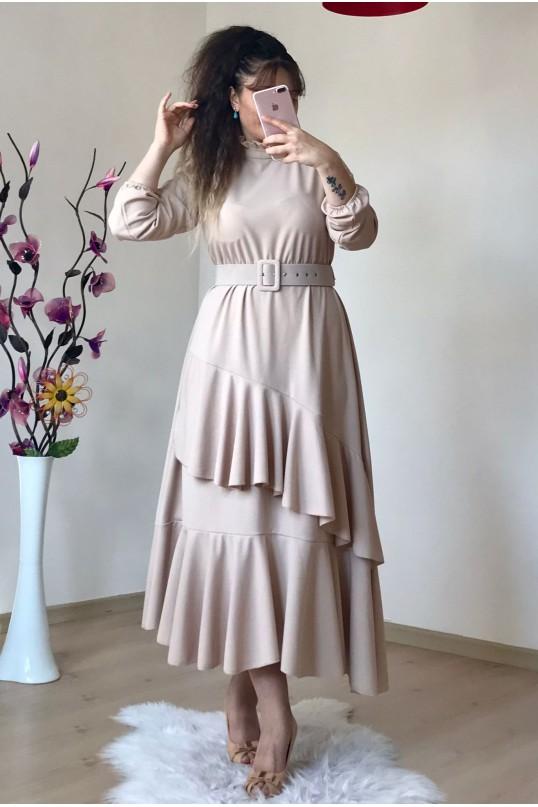 Yaka Fırfırlı Katlı Elbise Krem