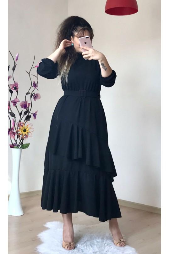 Yaka Fırfırlı Katlı Elbise Siyah