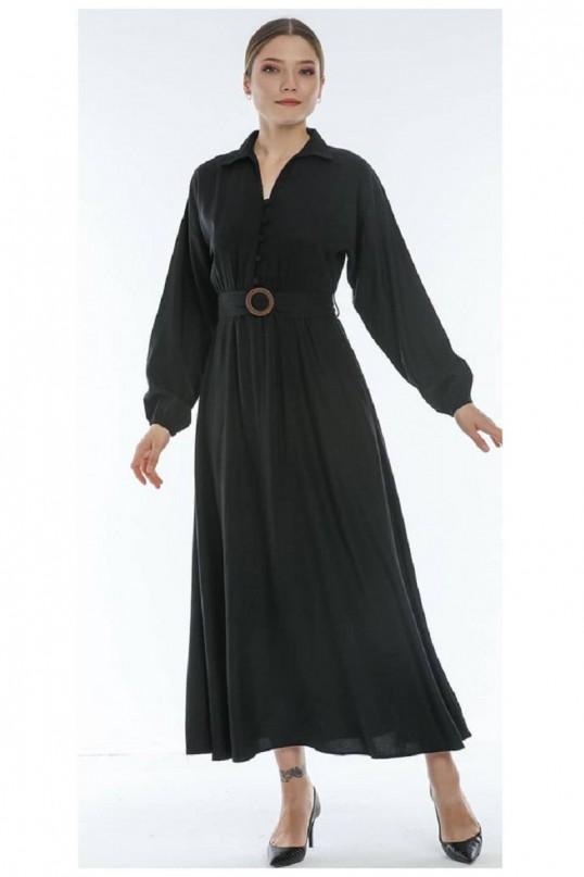 Balon Kol Kemerli Uzun Siyah Elbise
