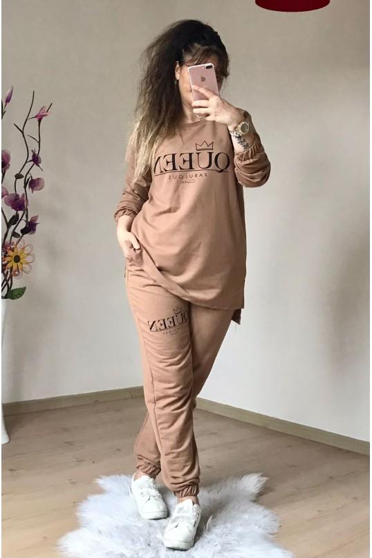 Queen Yazılı Eşofman Takımı Camel