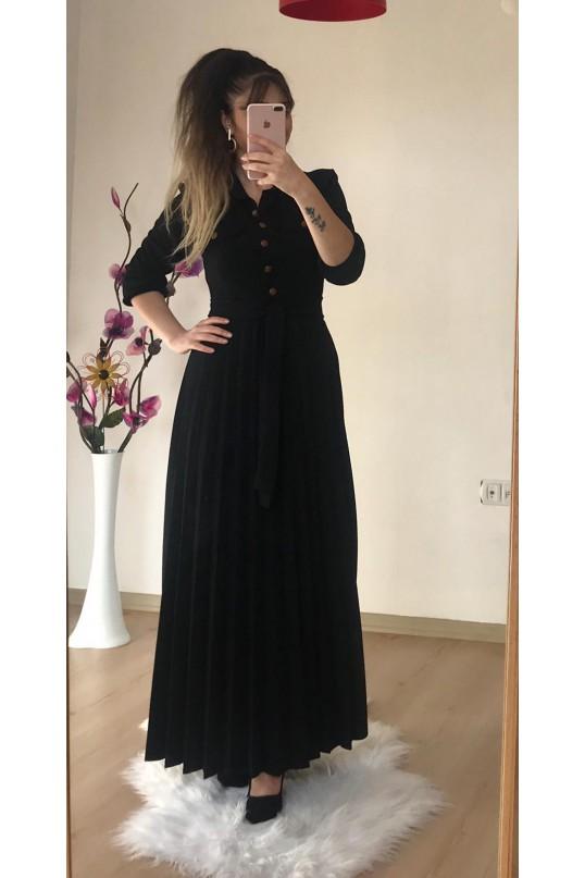 Düğmeli Yaka Cepli Elbise Siyah