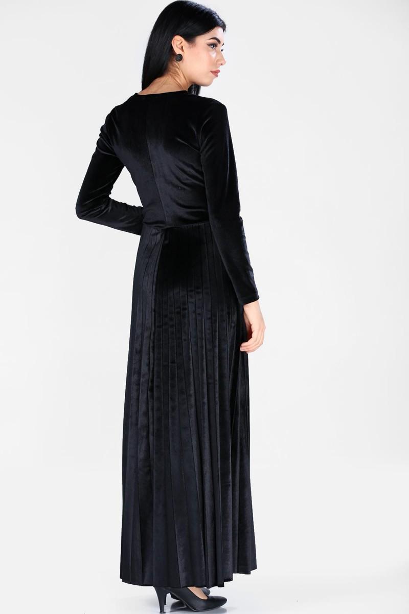 bbaf257bb2318 Kadın Ön Kruvaze Model Kadife Siyah Elbise sezon sonu indirimi