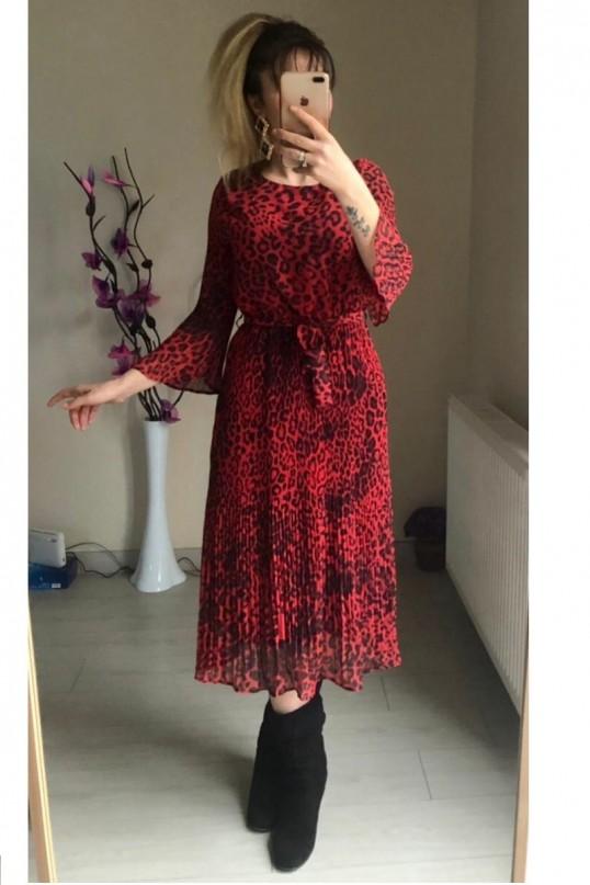 Şifon Leopar Elbise Kırmızı