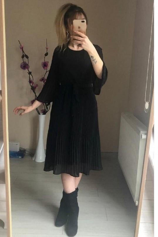 Kısa Siyah fırfırlı Şifon elbise