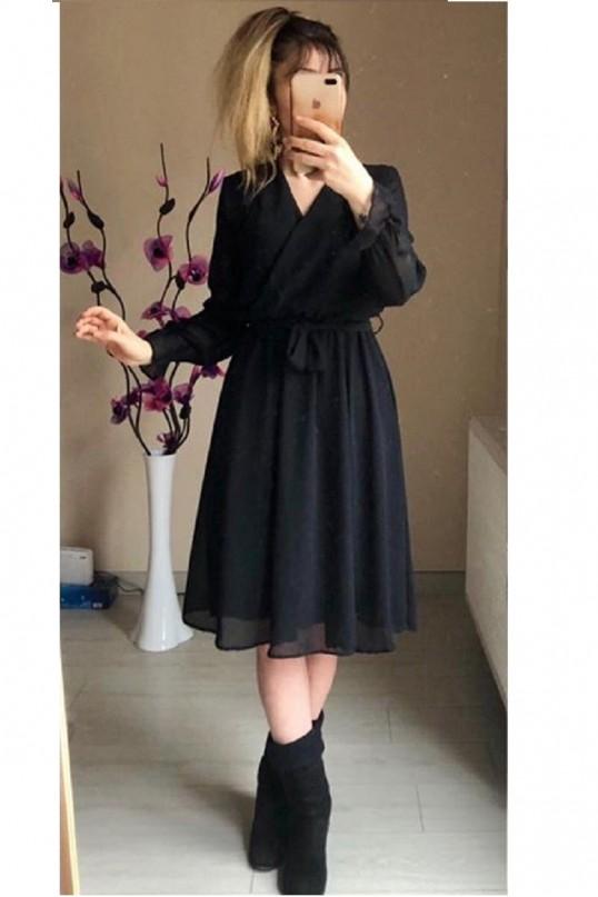 Kısa Düz Şifon Elbise Büyük Beden