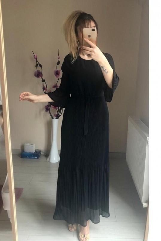 Uzun  Siyah fırfırlı Şifon elbise
